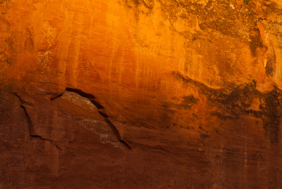 Desert varnish and erosion on the East wall at Red Rock Canyon State Park, OK.